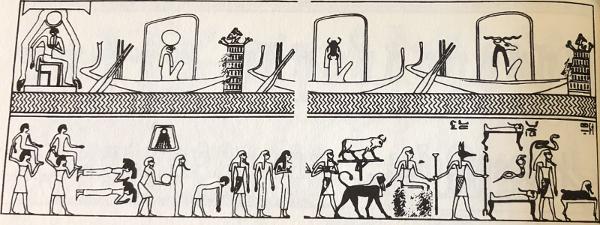 The Spell of the Twelve Caves, from Naville, Eduard (1886) Das Agyptische Todtenbuchder XVIII