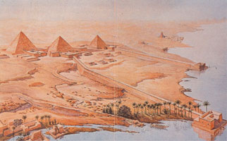 abusir necropolis: artist impression by Ludwig Borchardt