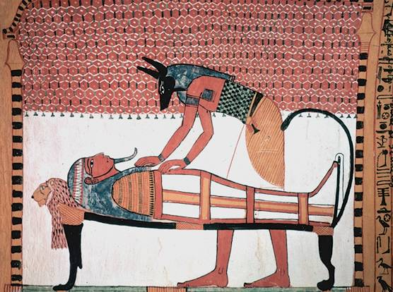 Anubis preparing a mummy