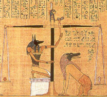 Anubis at the weighing of the heart