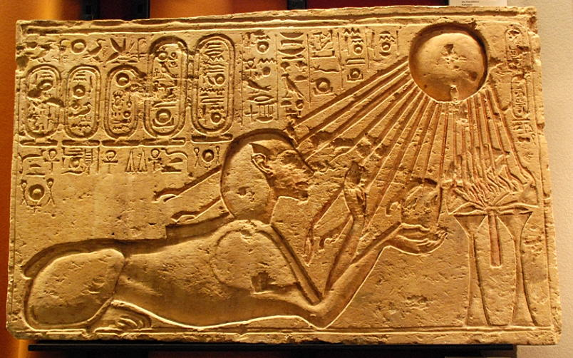 Akhenaten as a sphinx under the rays of the Aten copyright Hans Ollerman