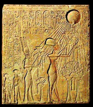 Akhenaten and his family worshipping the Aten