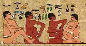 depiction of hand and foot massage from the tomb of Ankhmanthor