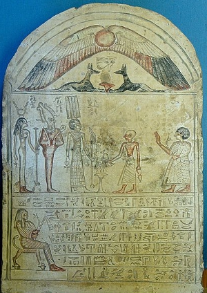 Meretitef, musician of Tefnut, has a libation poured in honour of the gods of Thinis: Anhur, Osiris and Isis
