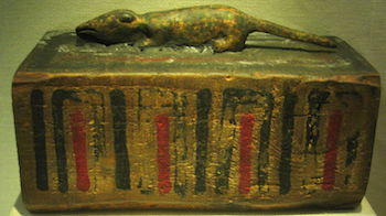 the sarcophagus of a shrew with the mummified shrew inside it, Ptolemaic Period