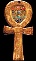 Ankh shaped mirror box, from the tomb of Tutankhamun