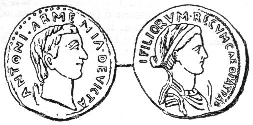 Coin depicting Mark Antony and Cleopatra