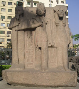 Ramesses II with Sekhmet and Ptah
