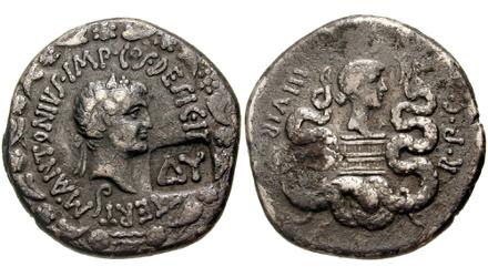 Coin depicting Mark Antony and his wife Octavia copyright Carlomorino