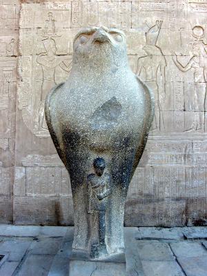 Caesarion protected by Horus at Edfu