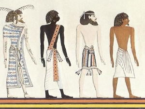 The races of mankind in the Book of Gates: Libyans, Nubian, Asiatic, and Egyptian