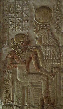 Isis nursing Seti I, Abydos