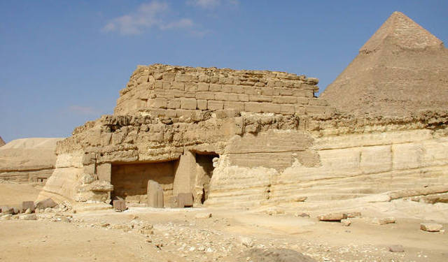 Khentkaus tomb with the Pyramid of Menkaure in the background
