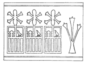 Neithhotep's name in a serekh topped by Neith's arrows