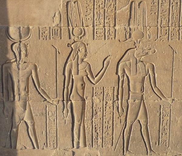 Khonsu with Hathor and Sobek at Kom Ombo