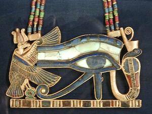Wadjet and Nekhbet flanking the Eye of Horus