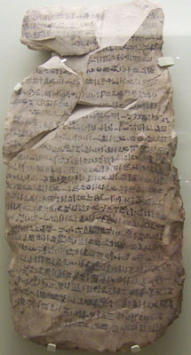 An ostraca with hieratic text (copyright Wafulz)