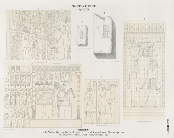 Some of the decorations in KV15 as drawn by Lepsius in 1849