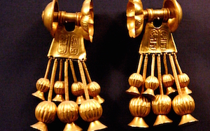 Gold earrings from KV 56 featuring the name of Seti II and Tausret (copyright Hans Ollerman)