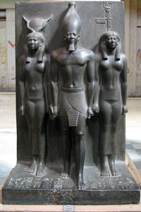 Menkaure with Hathor and the personified nome of Diospolis Parva