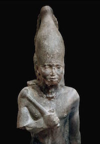 Neferefre wearing the white crown of Upper Egypt, from the pyramid complex and funerary temple of Neferefre at Abusir (copyright Juan R. Lazaro)