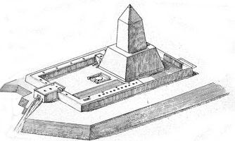 Niuserre's Sun Temple artists impression by Ludwig Borchardt