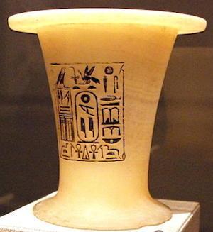 Alabaster offering vessel with titles of Pepi I (copyright Hans Ollermann)