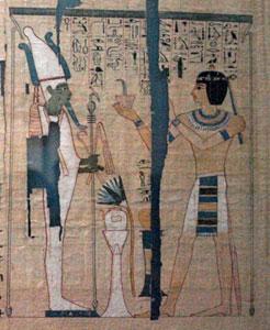 Pinedjem II makes an offering of incense to Osiris (copyright Captmondo)