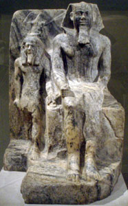 Sahure with a nome god (copyright Keith Schengili-Roberts)