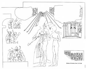 Ankhkheperure Smenkhkare Djeser Kheperu with his wife Meritaten in the tomb of Meryre II, line drawing by Norman de Garis Davies