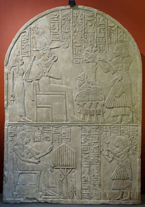 Iuny makes an offering of incense to Osiris and Isis