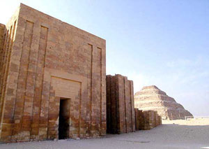Djoser's step pyramid with part of the enclosure wall copyright www.freestockphotos.com