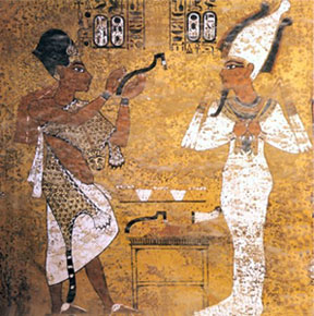 Ay opening the mouth of Tutankhamun in the tomb of Tutankhamun