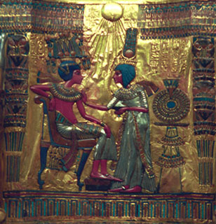 Detail from a chair found in Tutankhamun's tomb depicting the pharaoh with his wife, Ankhesenamun. (Copyright Jerzy Strzelec)