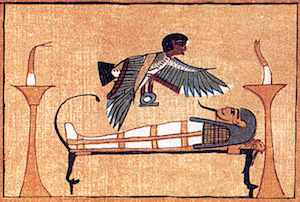 The Ba of Ani hovering over his coffin, from his copy of the Book of the Dead
