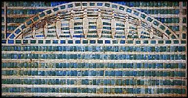 Frieze of blue tiles
