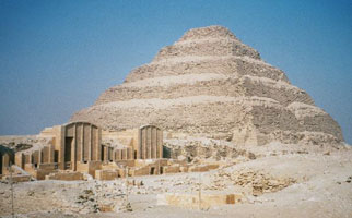 Djoser's step pyramid with part of the Heb Sed court (copyright Hajor)