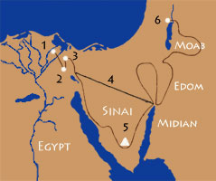 Route of the israelites during the exodus from Egypt