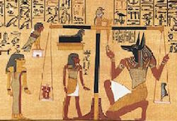 The heart being weighed against the feather of Maat