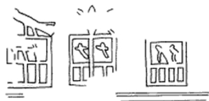 Serekh of Djer beside a serekh which seemed to be topped by Neith's arrows, the name is unclear but could be mr (hoe) nt (arrows) - Mereneith