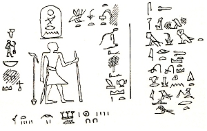 Rock inscription near Aswan showing king Merenra I receiving the submission of the lower Nubian rulers from Archibald Henry Sayce: Gleanings from the land of Egypt 1893