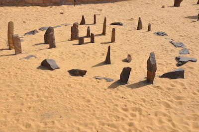 The stones of the Nabta Playa circle as replicated at the Aswan Museum (copyright Raymbetz)