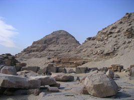 mortuary temple of Niuserre with the pyramid of Neferirkare in the background, Abusir