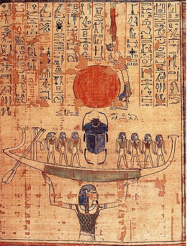 Nun lifting the barque of the Sun God out of the waters of chaos