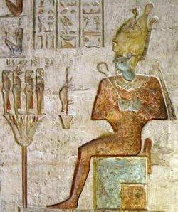Osiris with two Imiut fetishes