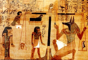 Meskhenet in the form of a birth bick with the head of a woman in the Papyrus of Ani