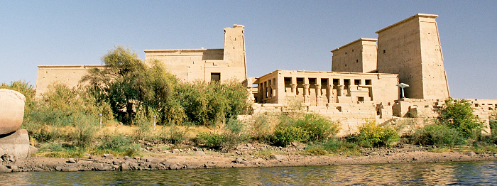 Philae: the first pylon, the Mammissi and the main temple of Isis; (copyright Przemyslaw Idzkiewicz)