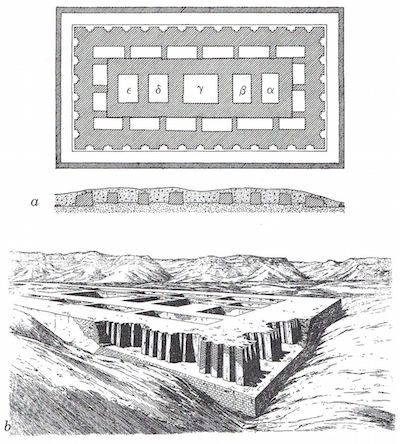 Plan and sketch of the Royal Tomb at Naqada produced by De Morgan, now known to be fairly inaccurate