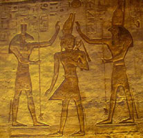 Horus and Set crowning Ramessess II, from Abu Simbel