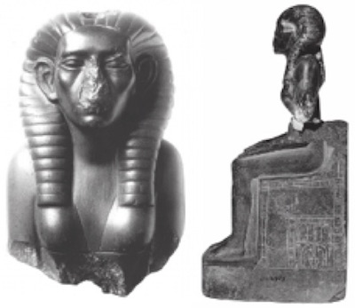 """Reconstructed statue of Sobekneferu from """"The Neferusobek Project Part 1"""" pp 89-91 from The World of Middle Kingdom Egypt, original photo by Hedwig Fechheimer 1914"""